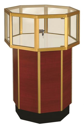 Clear Vision Octagonal Pedestal Jewelry Glass Display Case / Showcase - 24""