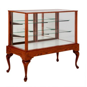 """Full Vision Showcase / Display Case - 36"""", 48"""", 60"""" or 72"""" long - Queen Anne Collection"""