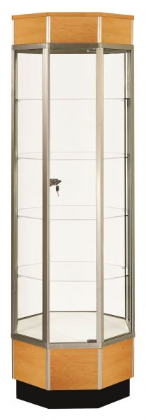 Full Vision Octagonal Tower Glass Display Case / Showcase