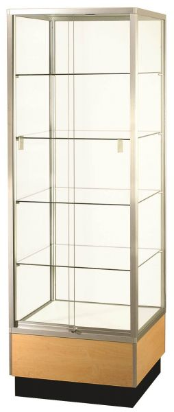 Full Vision Square Tower Glass Display Case / Showcase