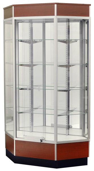 Full Vision Corner Trophy Glass Display Case / Showcase