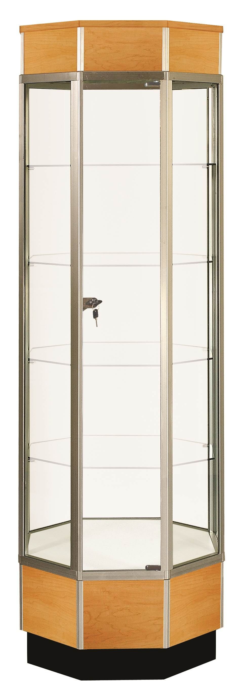Glass Display Cabinet Showcases: Full Vision Octagonal Tower Glass Display Case / Showcase