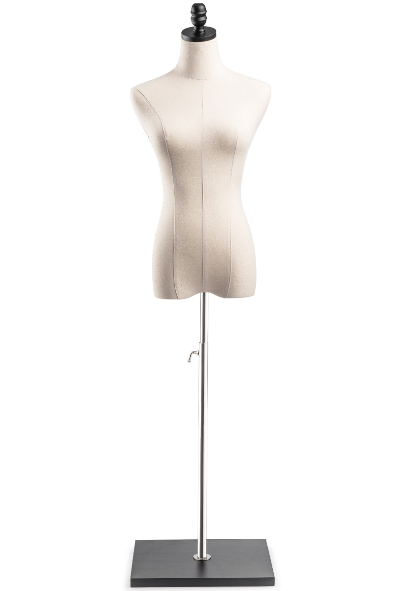 Female Display Dress Form Mannequin in Natural Canvas on Modern Wood Flat Square Base by TSC Black, Small