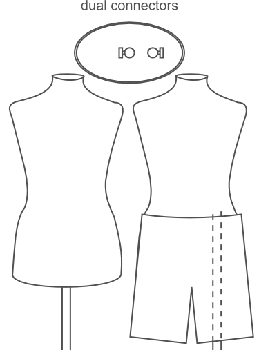 an illustration of dual connectors on the bottom of the partially pinnable dress form torsos