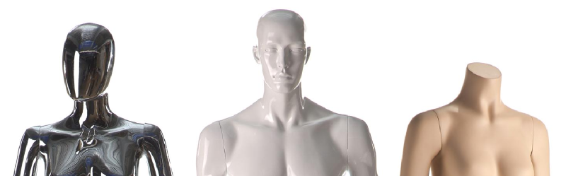 examples of abstract mannequins, chrome, white with full facial features, and headless with skin color