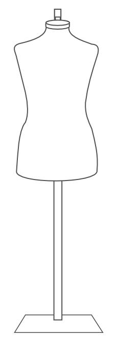 finished mannequin dress form on metal hanging base