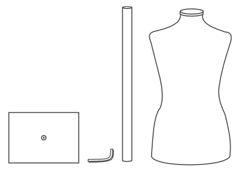 all pieces for mannequin dress form on metal tabletop base