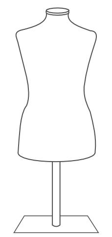 finished mannequin dress form on metal tabletop base