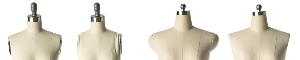 removable shoulders and collapsible shoulders on professional dress forms