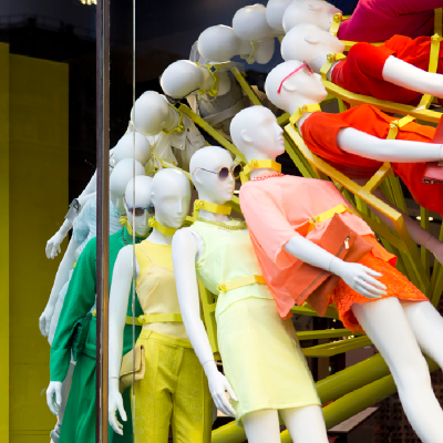 window mannequins in a Topshop store