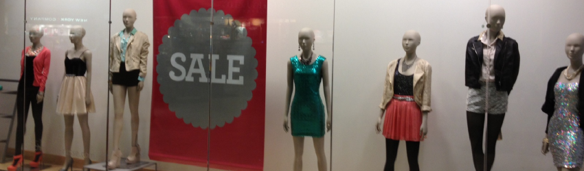 female mannequins in store window