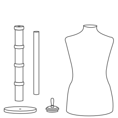our assembly instructions for the round wooden dressform base