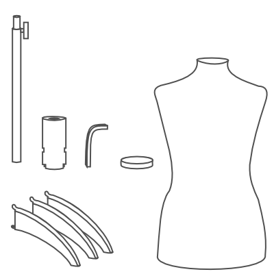 our assembly instructions for our metal tripod dressform base